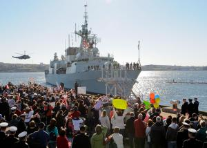 HS2010-0194-001 04 May 2010 CFB Halifax  All the families of the sailoris wave as Her Majesty Canadian Ship Fredericton returns home after a deployment. HMCS Fredericton was deployed on a six-month mission to the Arabian Sea, Gulf of Aden and Horn of Africa to conduct counter piracy and counter terror operations alongside our NATO and Coalition partners. As part of Canadais ongoing naval contribution to NATO, HMCS Fredericton will integrate into Standing NATO Maritime Group 1 (SNMG 1), currently conducting anti-piracy operations.  While conducting operations against international terrorism, HMCS Fredericton will integrate with Combined Task Force 150 (CTF 150). Please credit: Cpl Johanie Maheu, Formation Imaging Services Halifax, NS.