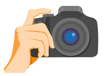 digital slr camera in hand clipart