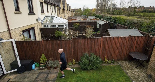 james campbell in his back garden