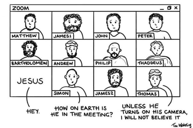 Zoom cartoon doubting thomas